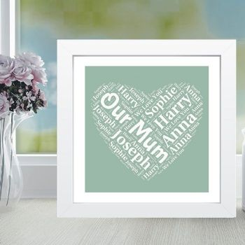Framed Mum Heart Word Cloud - Ideal Mother's Day Gift or Birthday Present